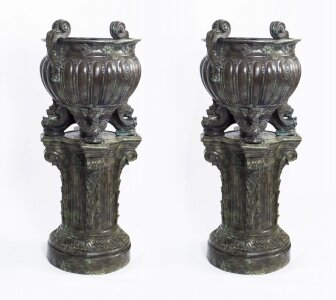 Huge Pair Solid Bronze Classical Jardinieres on Stands