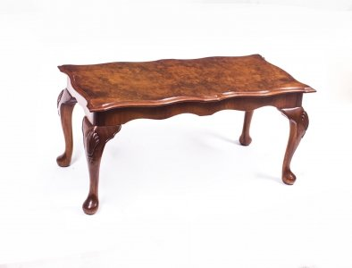 Vintage Burr Walnut Queen Anne Style Coffee Table Sold