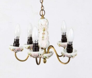 Vintage Porcelain &amp Brass 4 Light Chandelier