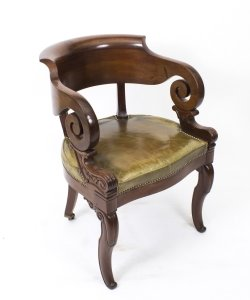 Antique Empire Mahogany Armchair Desk Chair