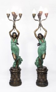 Stunning Pair Bronze Lady & 39 Torchere& 39 Lamps