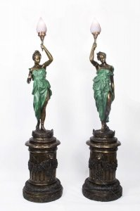 Pair Huge Bronze Liberty Lady Lamps on Stands