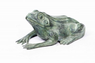 Small Bronze Green Patinated Frog Fountain
