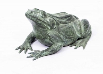 Large Bronze Green Patinated Frog Fountain