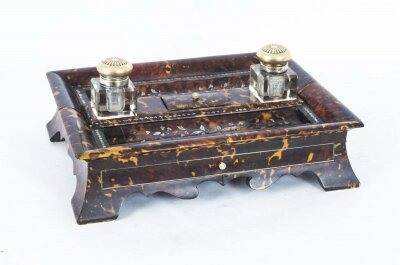 Antique Willliam IV Inlaid Mother of Pearl Boulle Inkstand