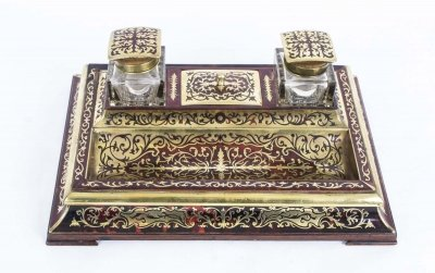 Antique French Boulle Cut Brass Tortoiseshell Inlaid Inkstand