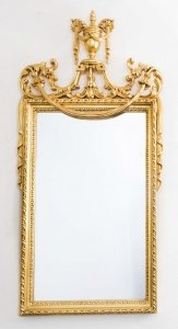Beautiful Sheraton Style Carved Giltwood Mirror 120 x 63 cm