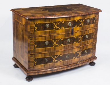Antique South German Baroque Walnut Bowfront Commode Chest 18th C