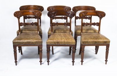 Antique Set 6 Regency Mahogany Dining Chairs