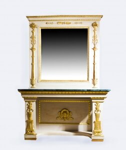 Antique Roman Console Table with Mirror &amp Marble Top 248 x 168 cm