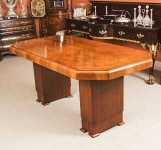 Antique Art Deco Dining Table Burr Walnut