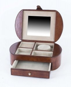 English Hand Made Tan Leather Jewelllery box