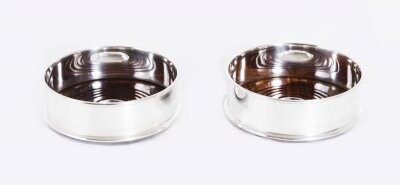Fabulous Pair of Silver Plated English Classic Wine Coasters