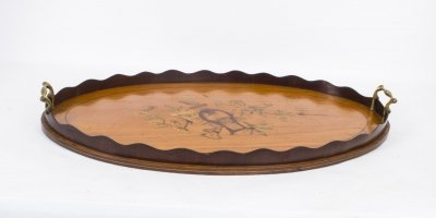 Antique Edwardian Oval Satinwood Marquetry Tray