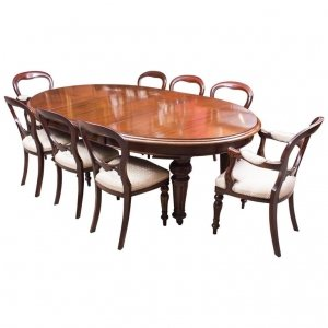 Antique Victorian Oval Dining Table &amp 8 chairs