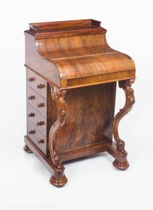 Antique Burr Walnut Pop Up Davenport Desk