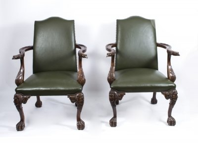 Stunning Pair Eagles Leather Library Chairs Armchairs 20thC