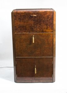 Antique Art Deco Burr Walnut Cocktail Cabinet Dry Bar