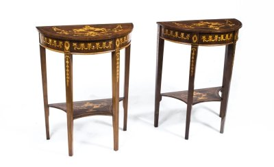 Vintage Pair Burr Walnut Half Moon Marquetry Console Tables 20th Century