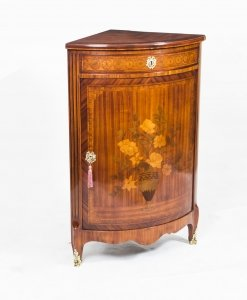 Antique Rosewood &amp Satinwood Marquetry Low Corner Cabinet