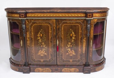 Antique Victorian Burr Walnut & Floral Marquetry Credenza c.1860 | Ref. no. 07117 | Regent Antiques