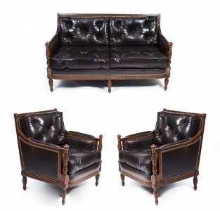 Classic Dark Brown Button Back Leather 3 Piece Suite
