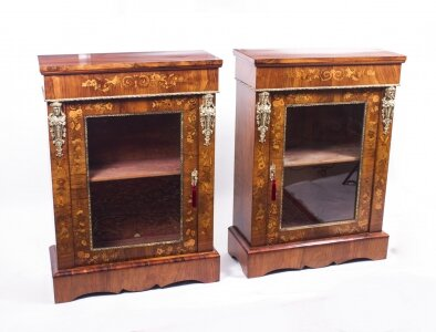 Antique Pair Burr Walnut Marquetry Pier Cabinets