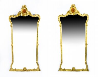 Antique Pair French 2.5 metre Giltwood Pier Mirrors 246 x 125 cm