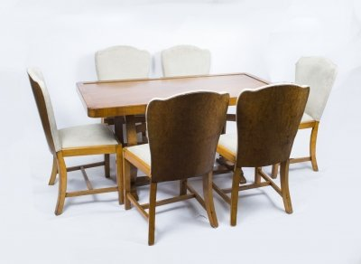 Antique Art Deco Dining Table &amp 6 chairs