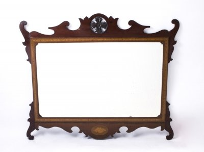 Antique Edwardian Mahogany Inlaid Marquetry Mirror 93 x 113 cm
