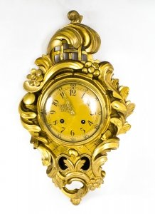 Antique Swedish Giltwood 8 day striking Cartel Clock C1910