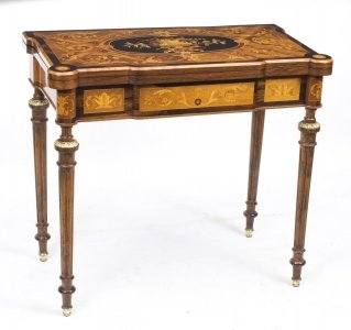 Antique French Marquetry Card Games Table