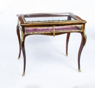 Antique French Rosewood &amp Ormolu Bijouterie Display Table