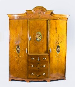 Antique English Satinwood &amp Painted Wardrobe
