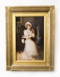Antique Oil Painting &quot The New Gown&quot C. F. Lowcock