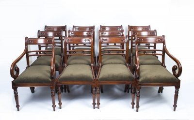 Set 12 English Regency Style Tulip Back Dining Chairs