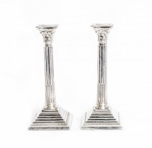 Antique Pair Sterling Silver Candlesticks Birmingham 1967