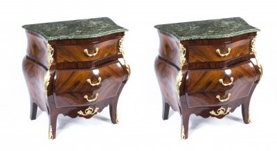 Superb Pair Louis XV Revival Marble Top Bedside Chests