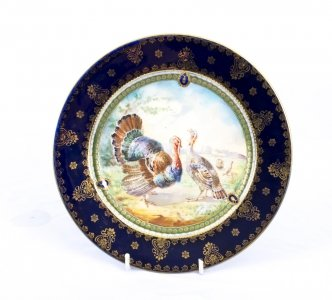 Antique Vienna Porcelain Cabinet Plate Turkeys