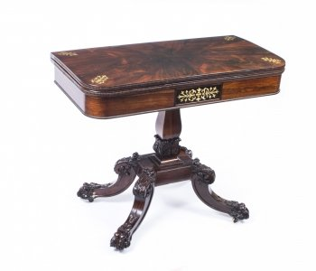Antique Regency Rosewood Brass Inlaid Card Table