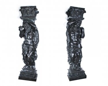 Monumental Pair 8ft Patinated Bronze Atlas Columns