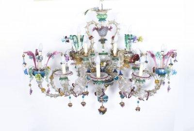 Antique Venetian Glass 14 Branch Murano Chandelier Sold - Antique Venetian Glass 14 Branch Murano Chandelier C.1850 Ref. No