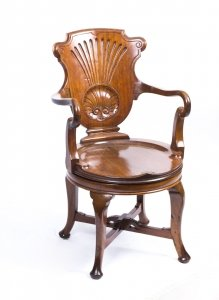 Antique Edwardian Walnut Revolving Desk Chair