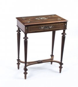 Antique French Rosewood Inlaid Dressing Work Table