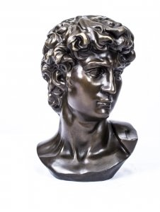Brown Patinated Bronze Bust of Michelangelo& 39 s David