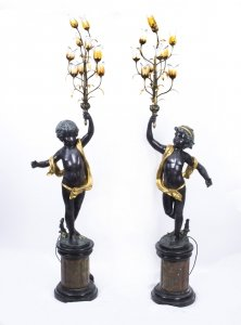 Pair 7ft Gilded Bronze Cherub Candelabra on Marble Bases