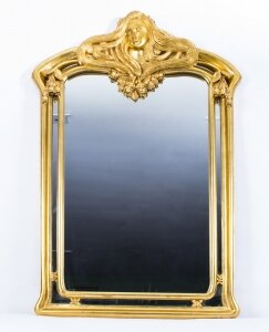 Beautiful French Art Nouveau Carved Giltwood Mirror 103 x 71 cm | Ref. no. 07547 | Regent Antiques