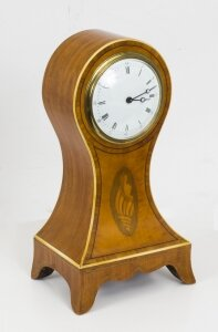 Antique Edwardian Inlaid Satinwood Mantle Clock
