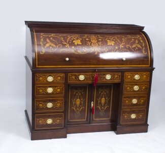 Antique Victorian Cylinder Bureau by Edwards &amp Roberts