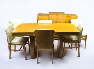 Antique Art Deco Birdseye Maple Dining Suite Dry Bar Set C1930
